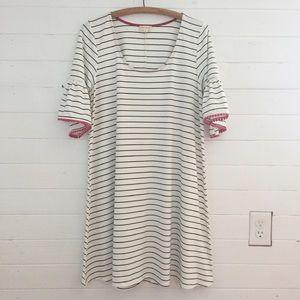 Hem & Thread A-Line White Striped Dress L